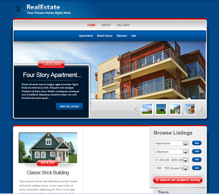 real estate web design, web design for real estate